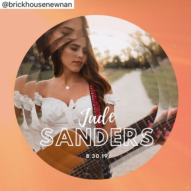 FRIDAY night y'all! Come see me live acoustic from 8-11! 🤩🍻@brickhousenewnan • • • This Friday 😍😍 Jade Sanders is one of our most talented new performers and she will be headlining this Friday night! Show starts at 8pm followed by our favorite DJ BruhMan on the patio ☀️ @jadesanders