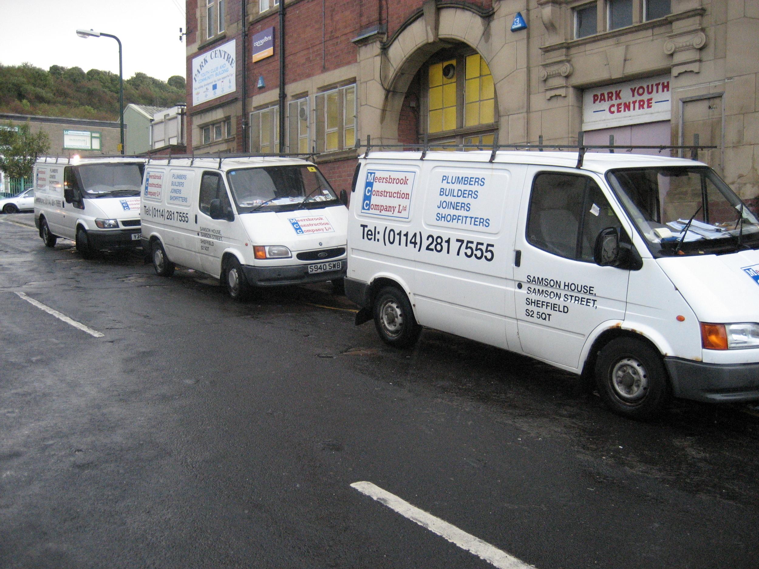 A number of Meersbrook Construction Company Ltd vans
