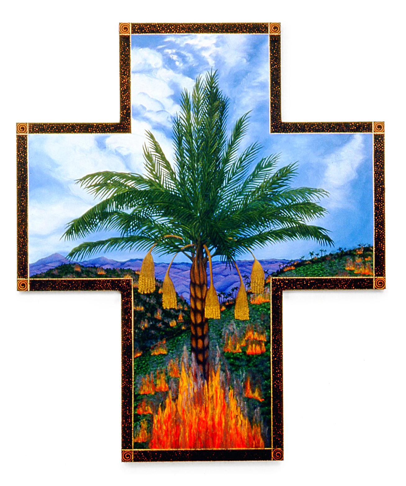 Burning the Rainforest, oil on shaped canvas, 93x78 (1995)