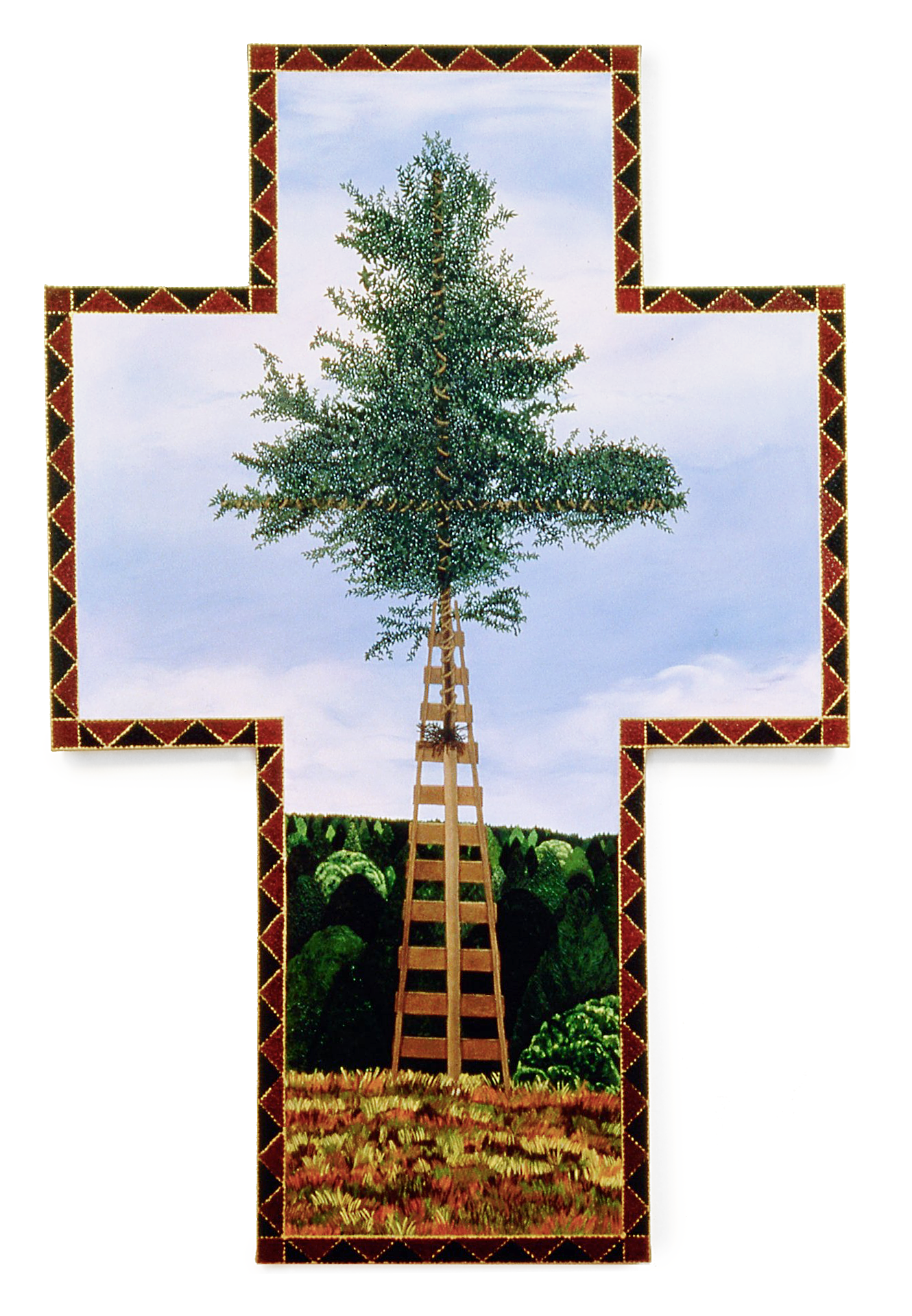 Cruxified Tree, oil on shaped canvas, 90x59 (1995)