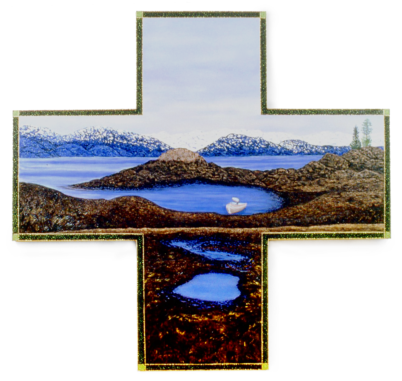 Oil Spill, oil on shaped canvas, 80x84 (1995)