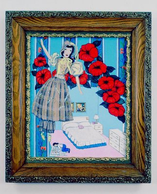"""My Room"", 2000, oil on canvas in vintage wood frame, 17.5""h.x16.5""w."