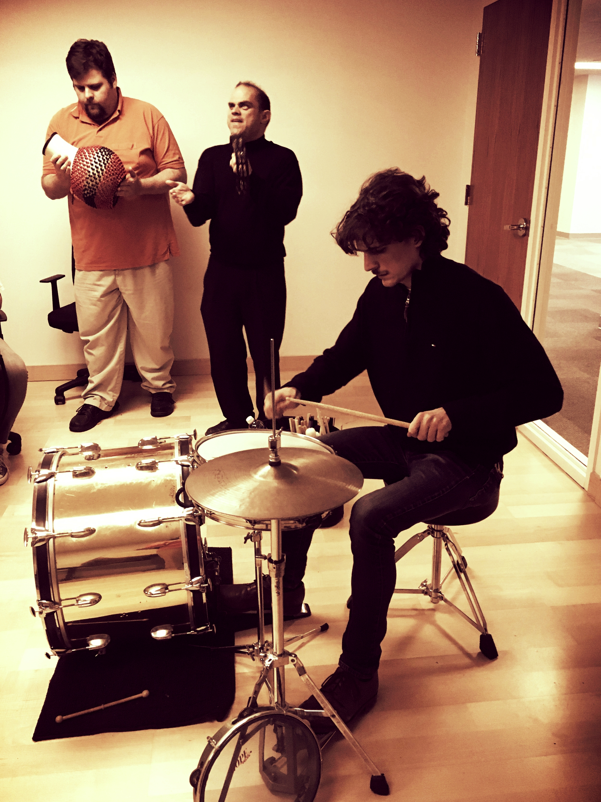Percussion     Exploring percussion instruments and rhythms from around the world.   Basic rhythms and grooves are demonstrated and groups are formed that build the beats from their foundation to improvisation. African, Latin American and Middle Eastern instruments are provided. Participants learn how to go from hand clapping a rhythm to actually performing in an ensemble setting.   No previous background on any instrument is needed.