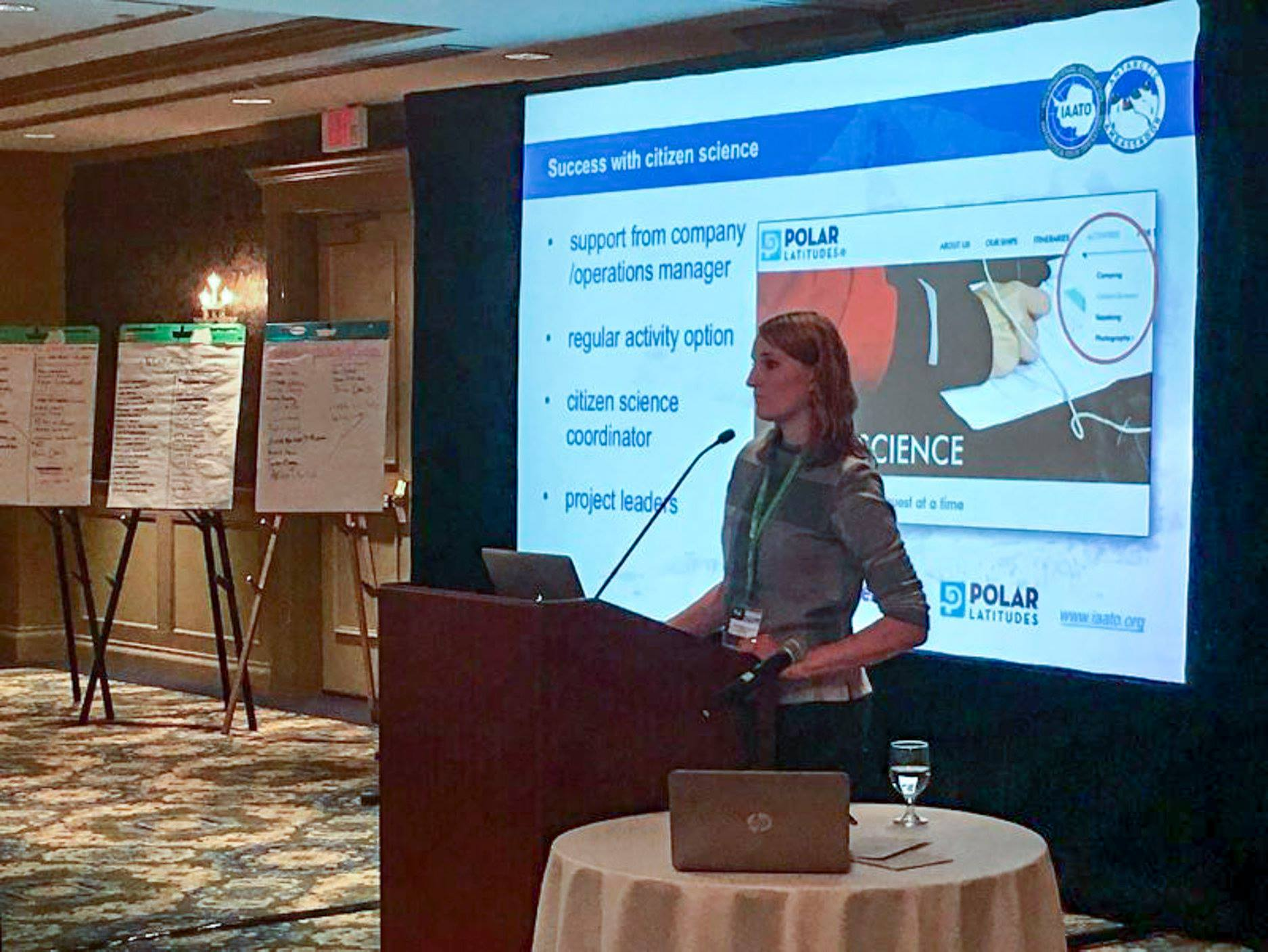 Annette Bombosch presents on the citizen science efforts of the polar tourism industry at IAATO's 27th Annual Meeting in Newport, RI.