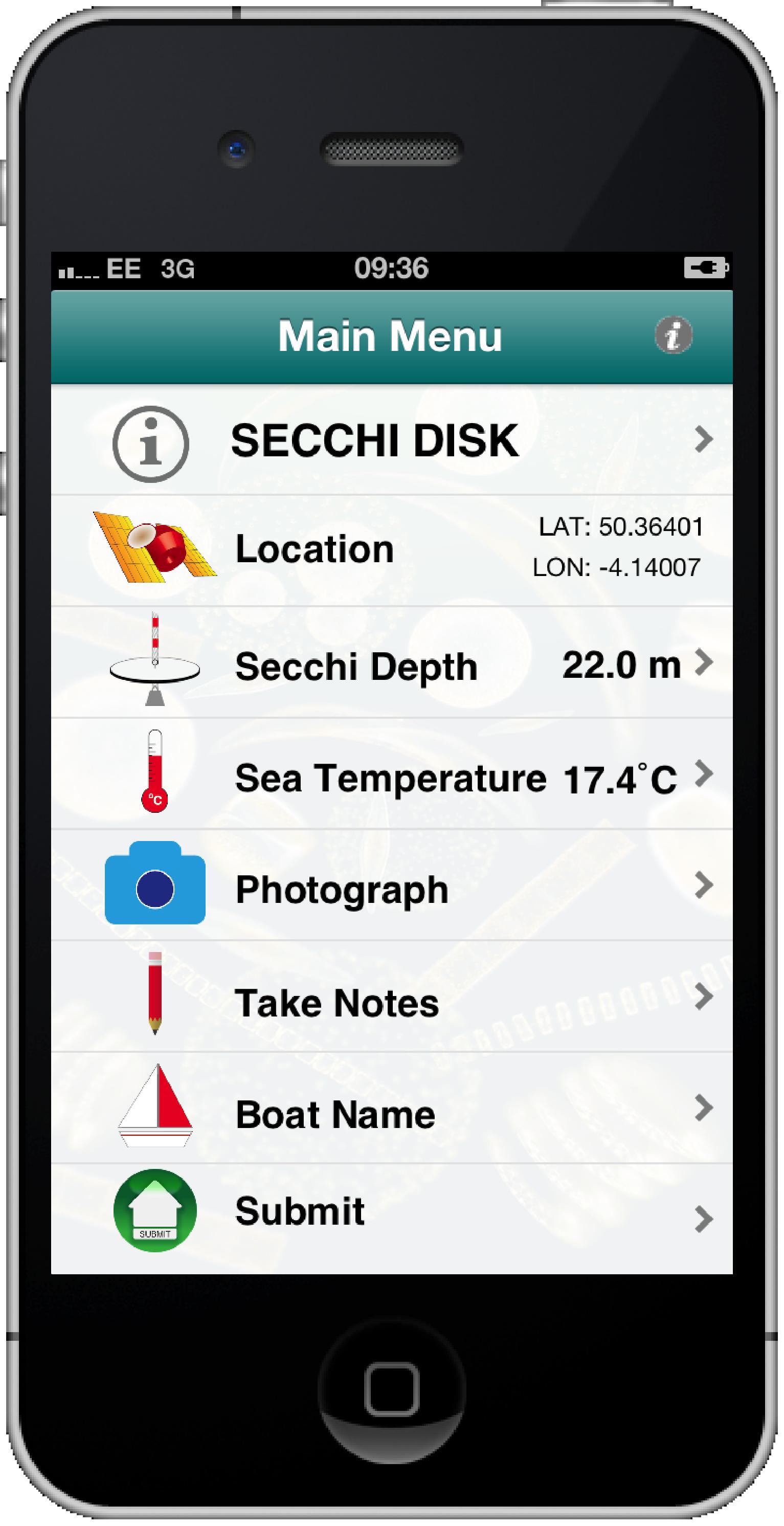 Secchi App Main Menu.png