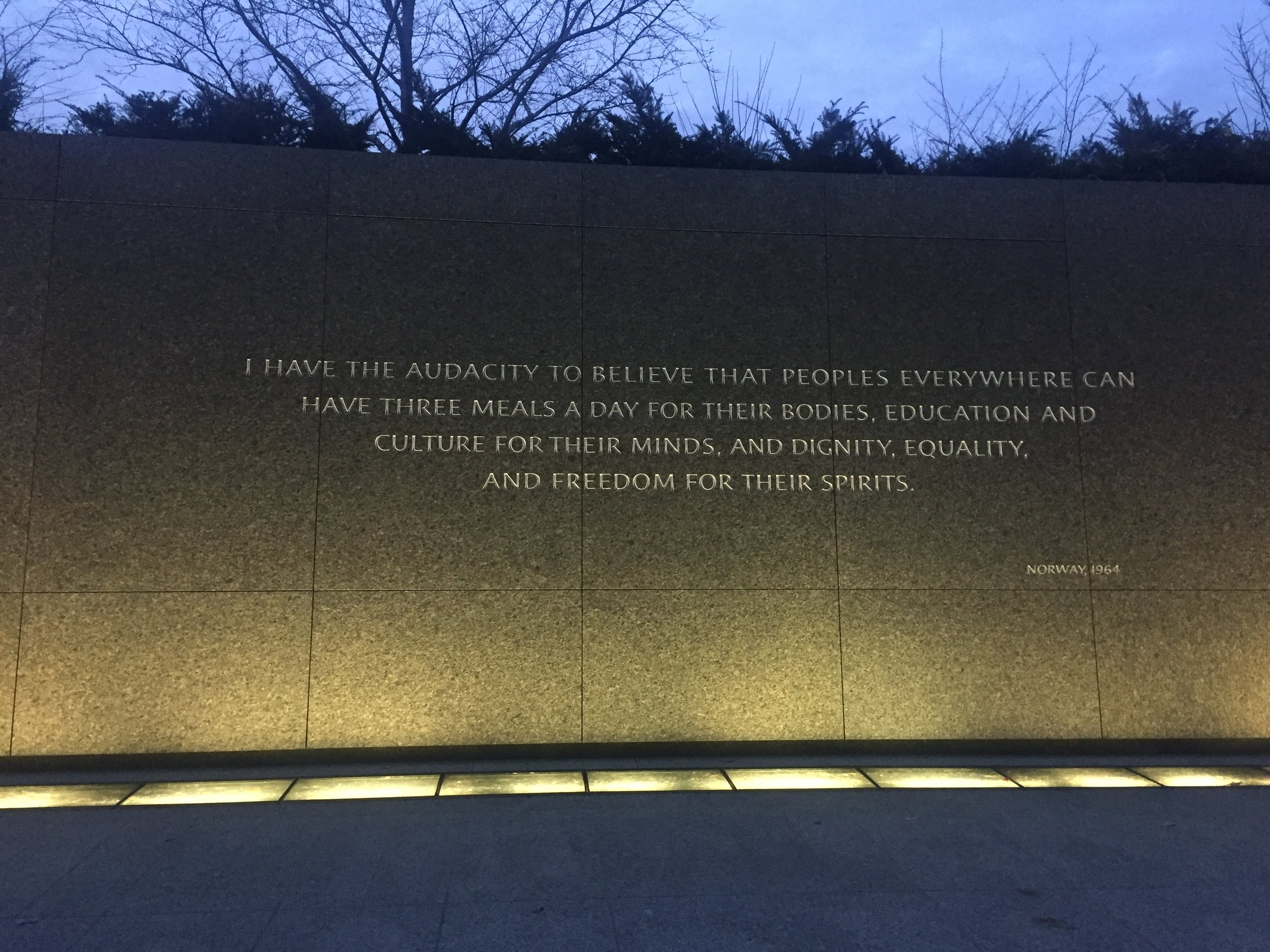 Photography by Kaiulani Houston, taken January 15, 2017 at the Dr. Martin Luther King Jr. Monument in Washington D.C.