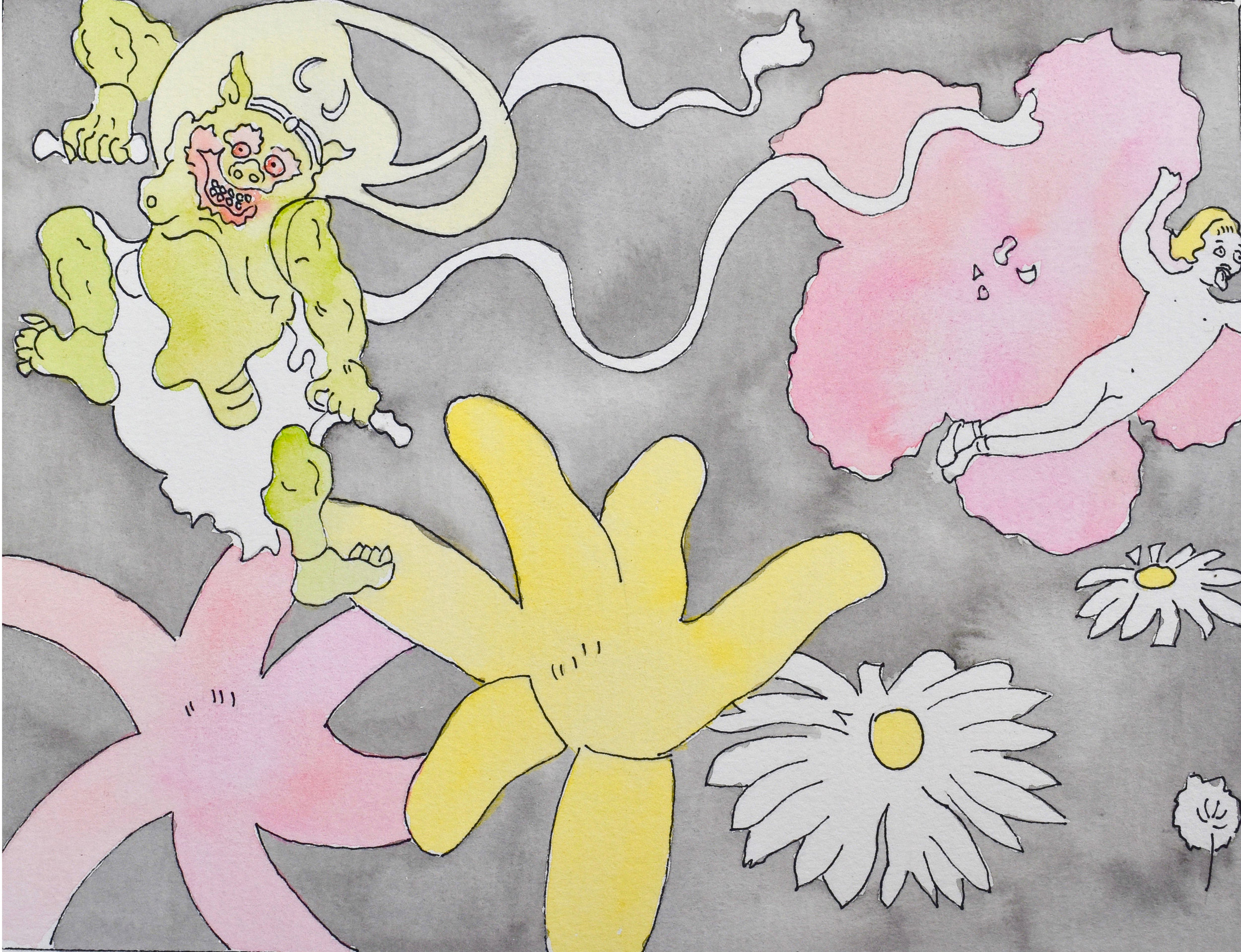 "Thunder God With Flowers and Child  (2013)  from  Joyous Cosmology?   gouache on paper, 11"" x 8.5"""