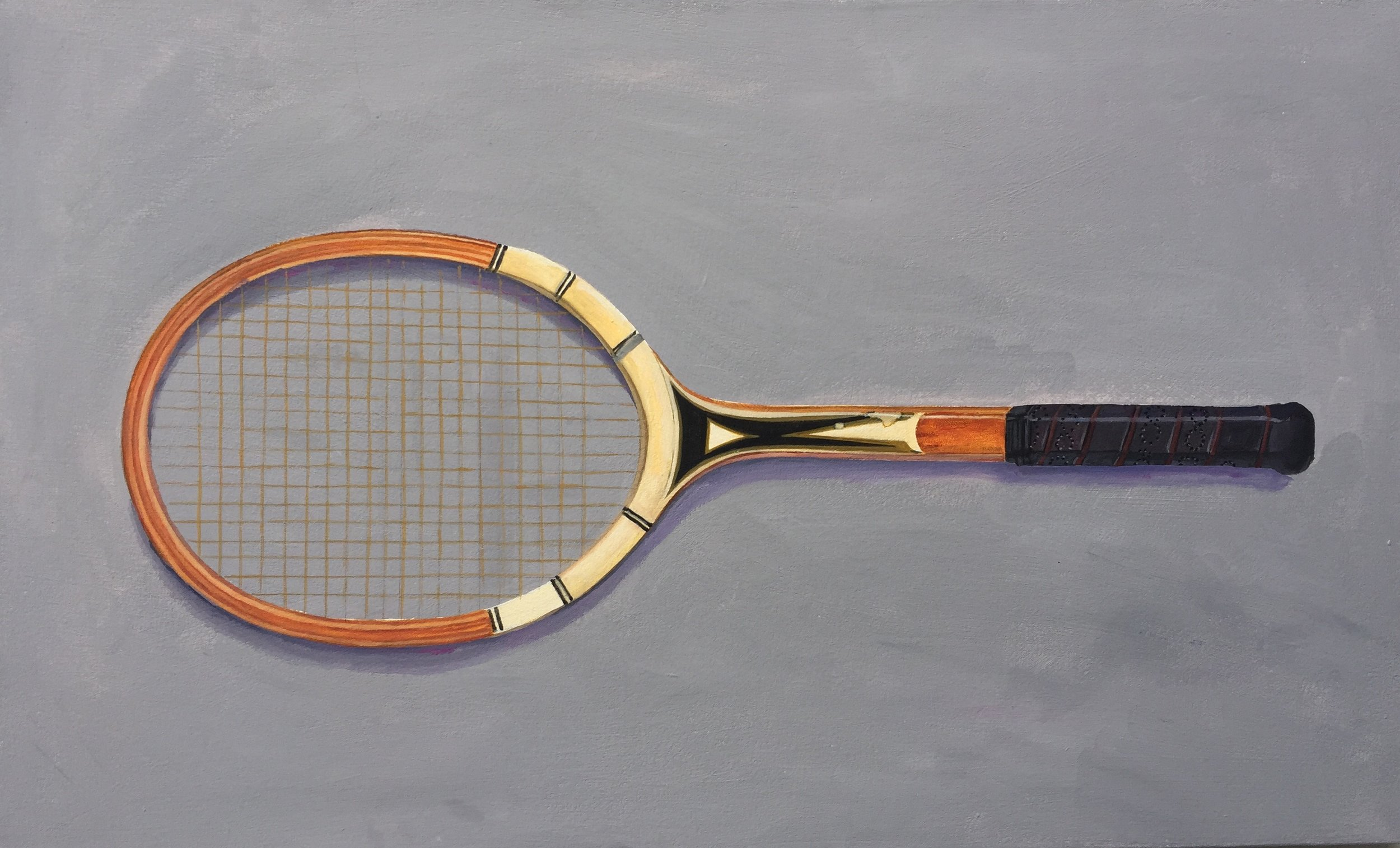 """My Father's Custom Fitted Tennis Racquet  (2015)  from  The Apartment   acrylic on canvas, 20"""" x 33"""""""