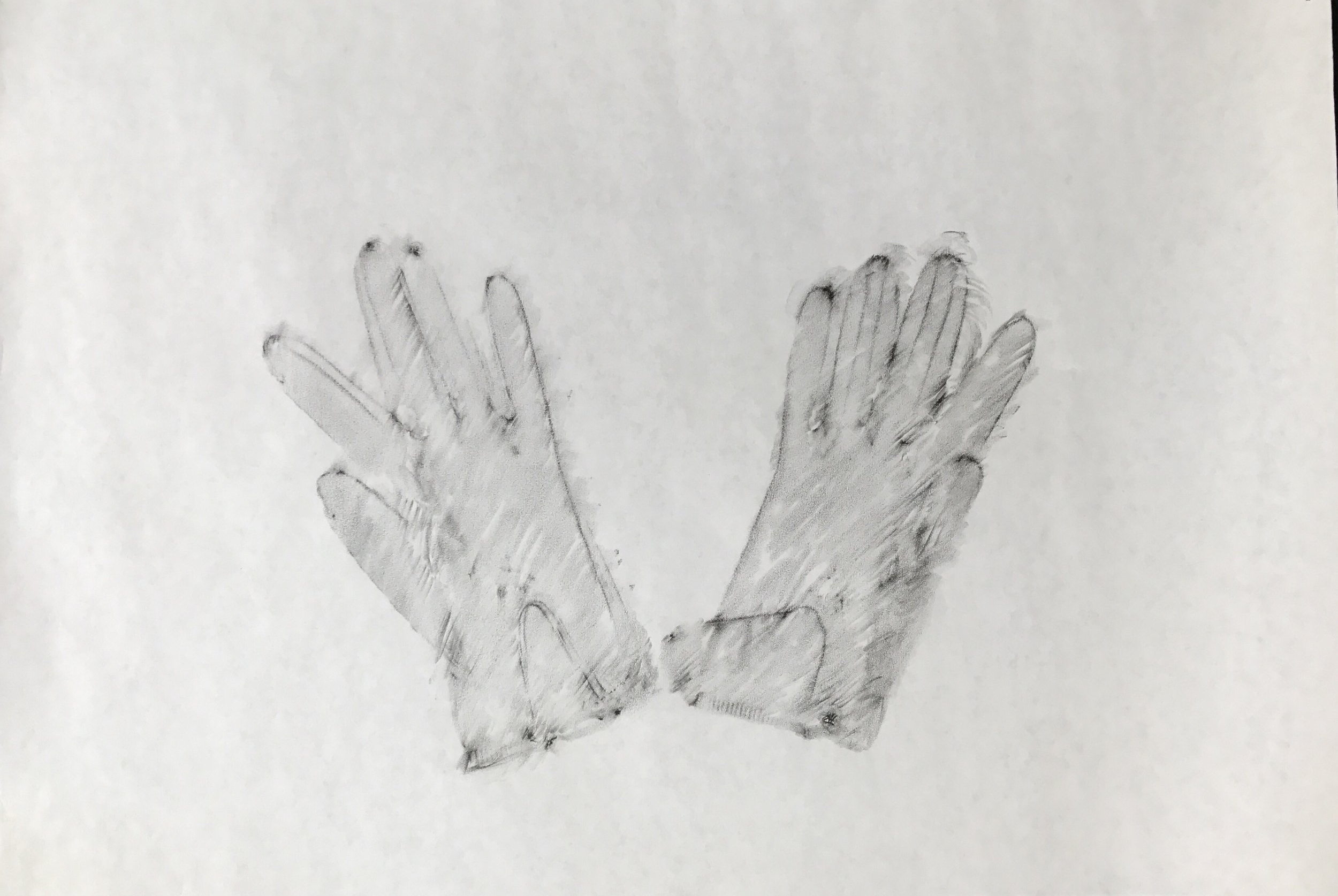 Oma's Glove Series  (2015)  crayon rubbings on paper  varying dimensions