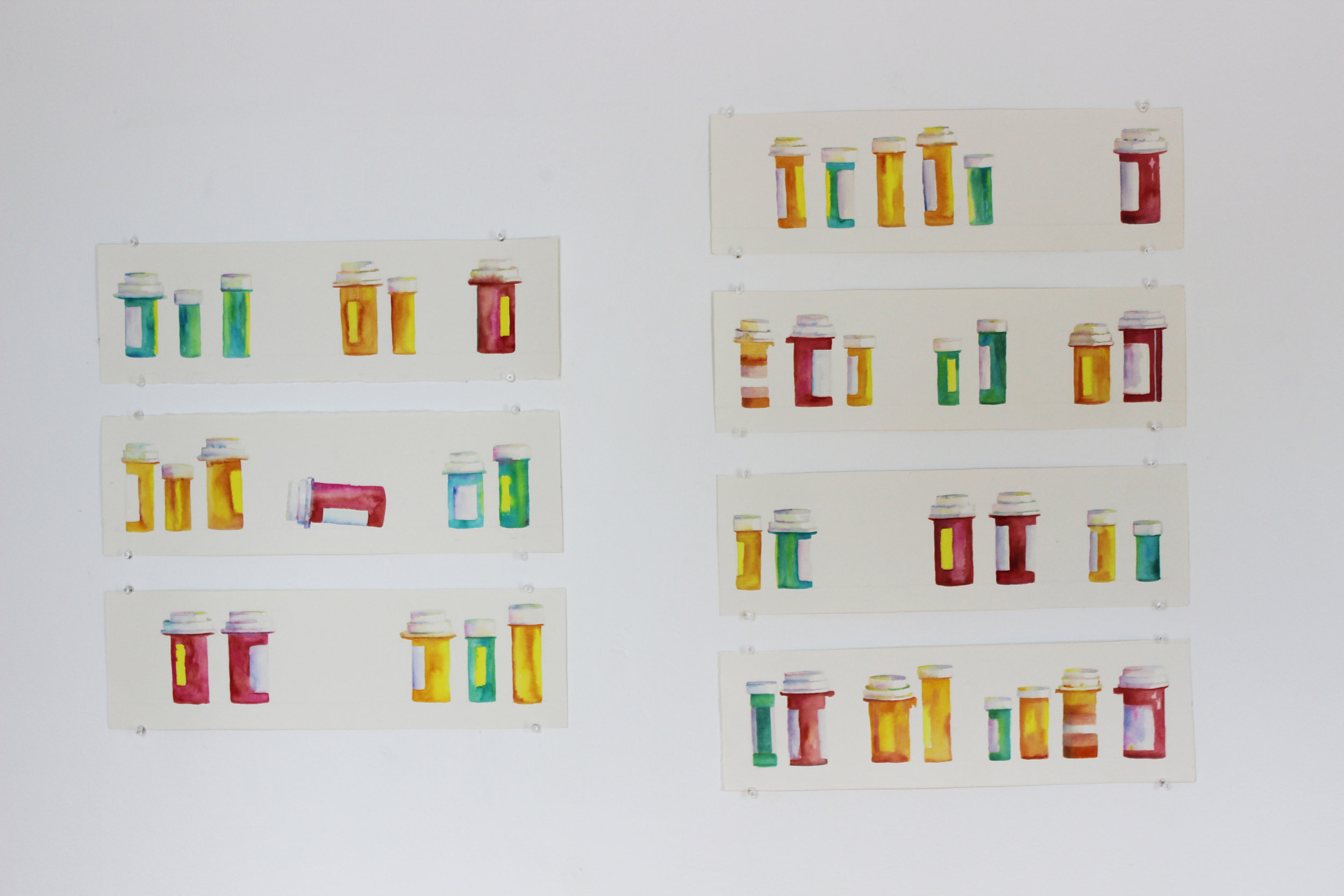 """Collection of Pills (2015)    from Pills   Gouache on paper, 44"""" x 30"""""""