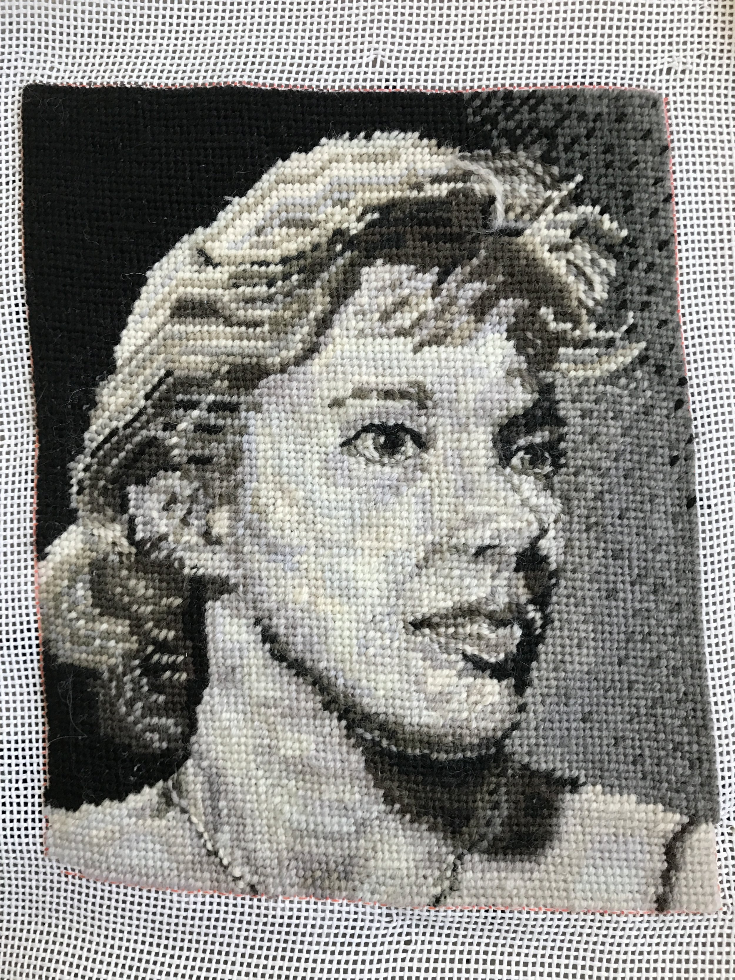 """Needlepoint Portrait of My Mother's Actress Head Shot (2016)    from The Apartment   Wool on canvas, 10"""" x 8"""""""