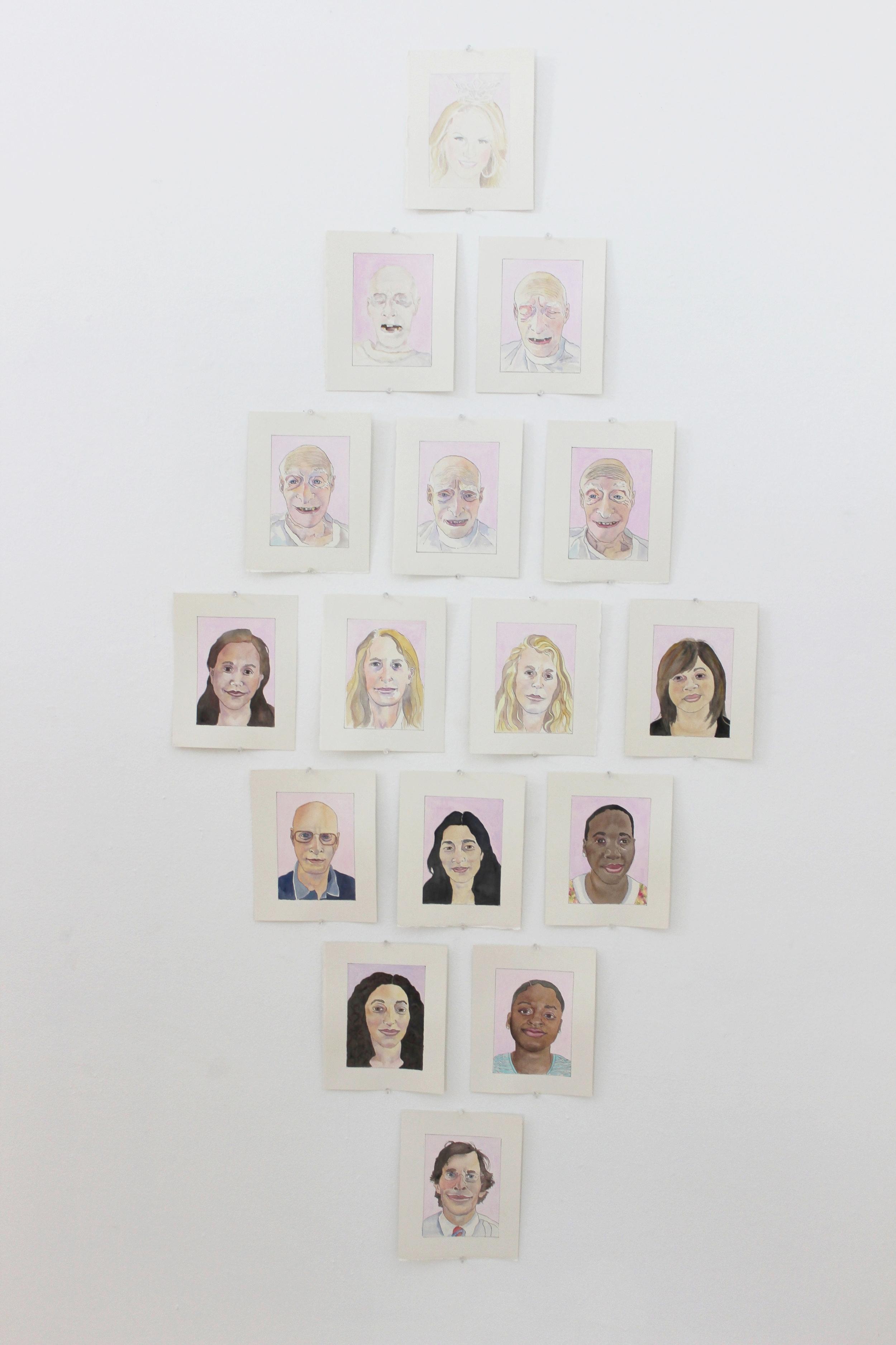 "Sympathy Series  (2013)  gouache on paper  each leaf 7"" x 5"""