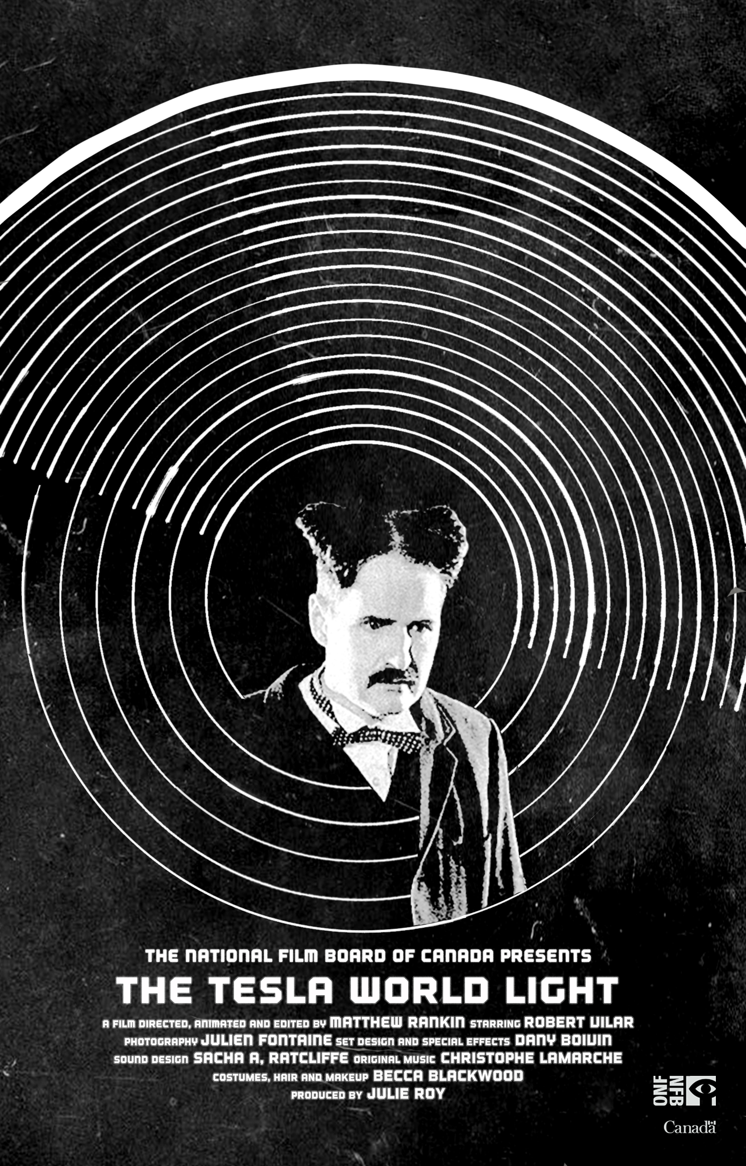 """TESLA: WORLD LIGHT - 2017   8m   Experimental Animated ShortNew York, 1905. Visionary inventor Nikola Tesla makes one last appeal to J.P. Morgan, his onetime benefactor. The Tesla World Light is a tragic fantasy about the father of alternating current, inspired by real events such as the inventor's run of bad luck as a businessman and his affection for a pet bird, which he loves """"like a man loves a woman."""" Tesla's words to the banker form the backdrop of this moving film about the man who blended science and art in his attempts to create the utopia of unlimited energy for all.Directed by Matthew Rankin.Produced by Julie Roy, The National Film Board of Canada."""