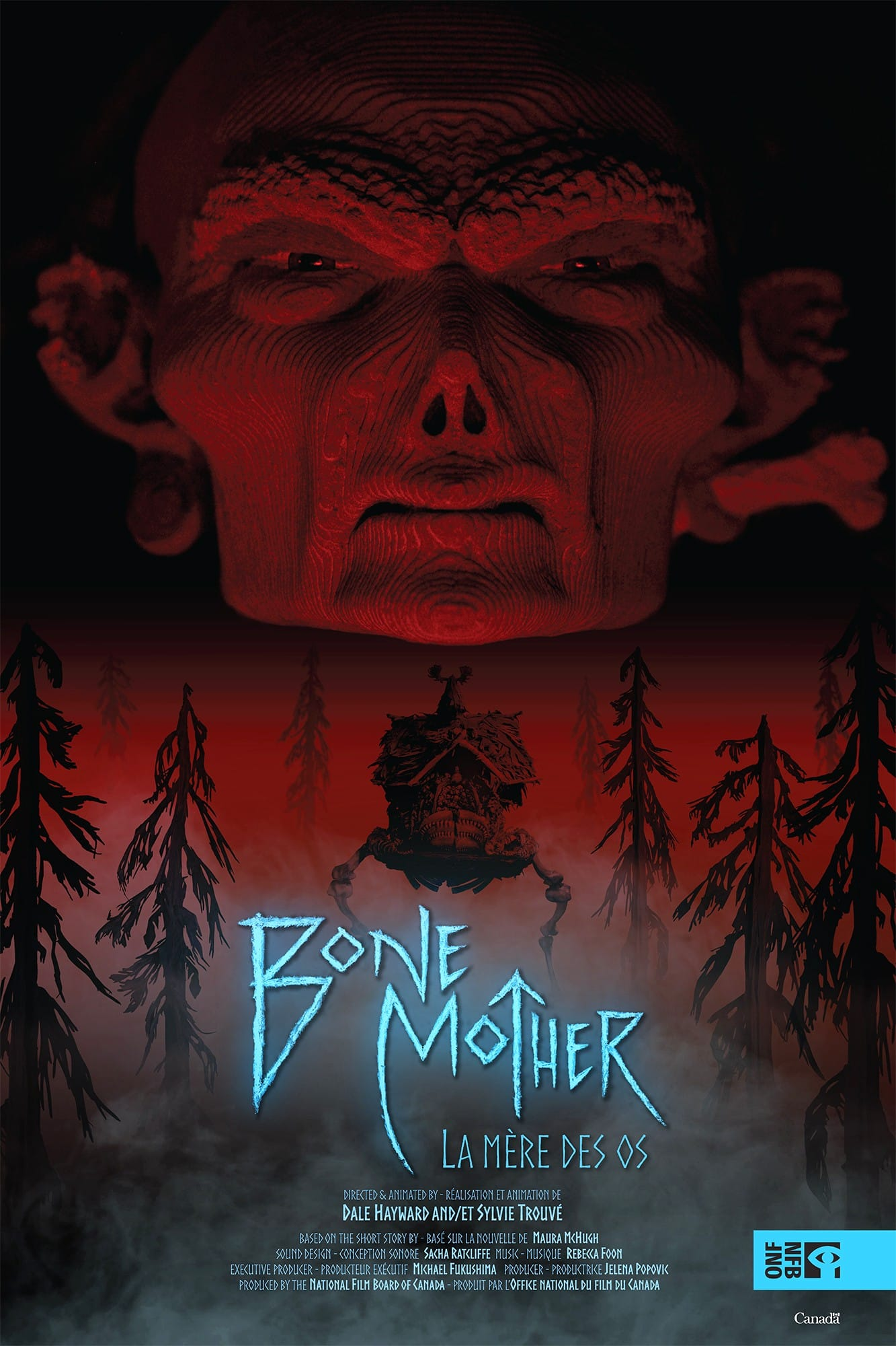 BONE MOTHER - 2018   8m   Action/Fantasy Animated ShortBone Mother is a fantasy-horror-stop-motion animation adaptation of the novel of the same name by Maura Mchugh. The ancient crone Baba Yaga is desperately caring for her ailing living house of bones and unexpectedly becomes the mother of a legend.Directed by Dale Hayward and Sylvie Trouvé.Produced by Jelena Popovic, The National Film Board of Canada.