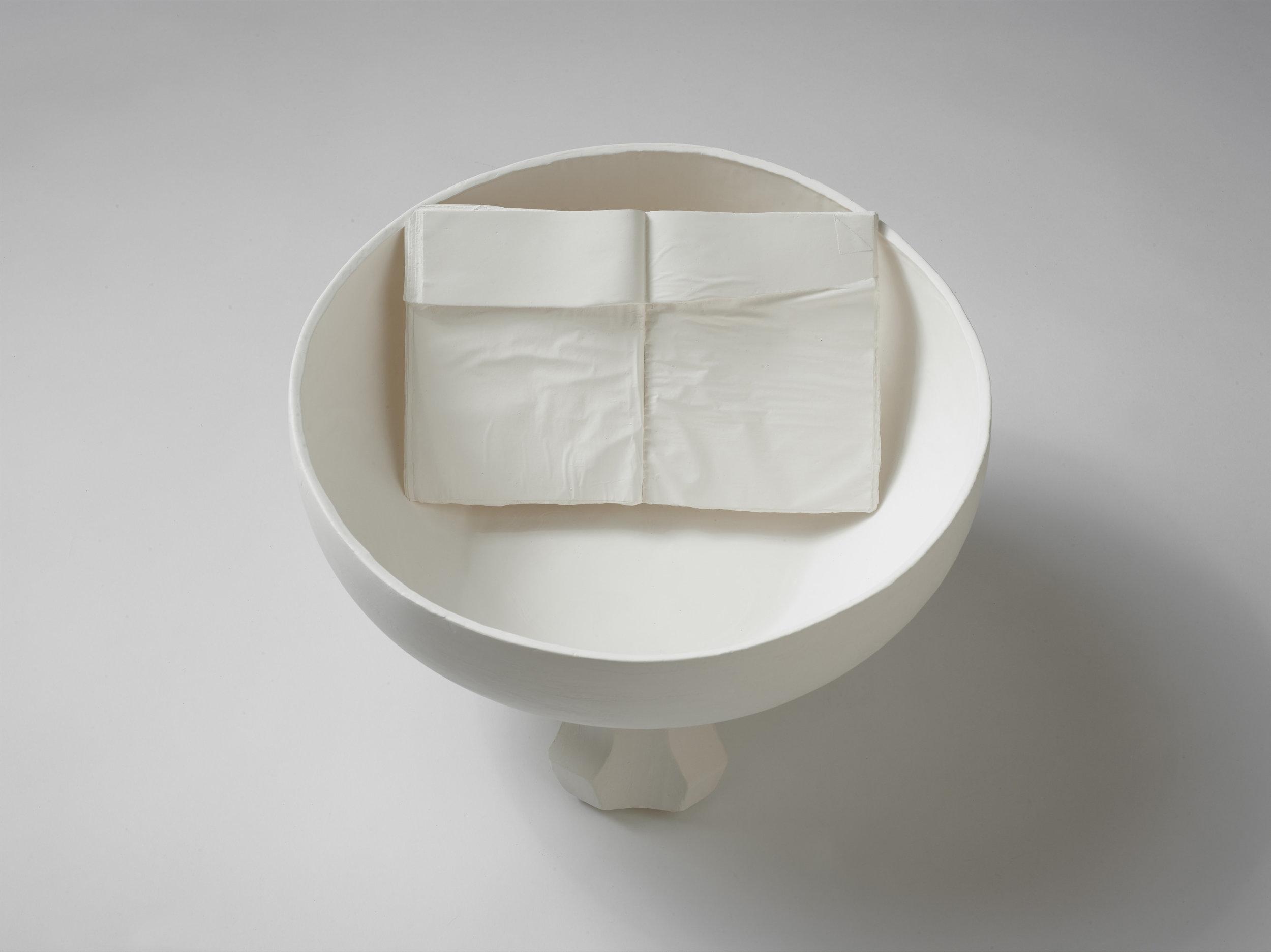 Bathtub,  2019, cast stoneware, wax, 18.5x18.5x10 inches
