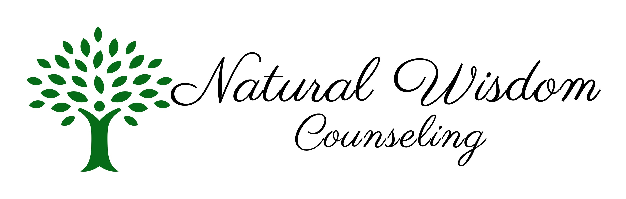[image: The logo for Natural Wisdom Counseling. A green deciduous tree with the trunk in the shape of a person--feet rooted down and arms branching up.]
