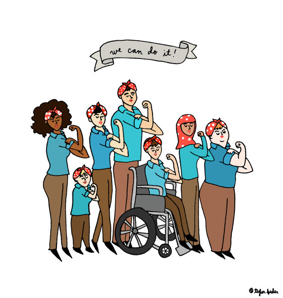 "[image description: A twist on the old ""We Can Do It"" poster of Rosie the Riveter during World War II, this cartoon has seven people in brown pants, blue shirts, and red headbands with white spots. The seven people are of different heights, skin color, cultural/religious/ethnic background, and physical ability. They have tufts of different colored hair coming out from their red bandanas. Image found at  Pros and Kon . The signature at the bottom appears to say  Tyler Feder .]"