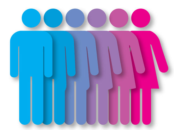 "[image description: an image of six figures overlapping. They are all in the same format as typically seen on ""Men"" and ""Women"" restroom doors. From left to right, the figures start as blue, fade to purple, and fade into pink. Similarly, from left to right, the first figure has straight legs, and each progressing figure has a little bit more of a ""dress"" shape added on, until reaching the furthest right figure, which is pink and the typical figure used for a ""Women"" restroom. Image found on Google Images.]"