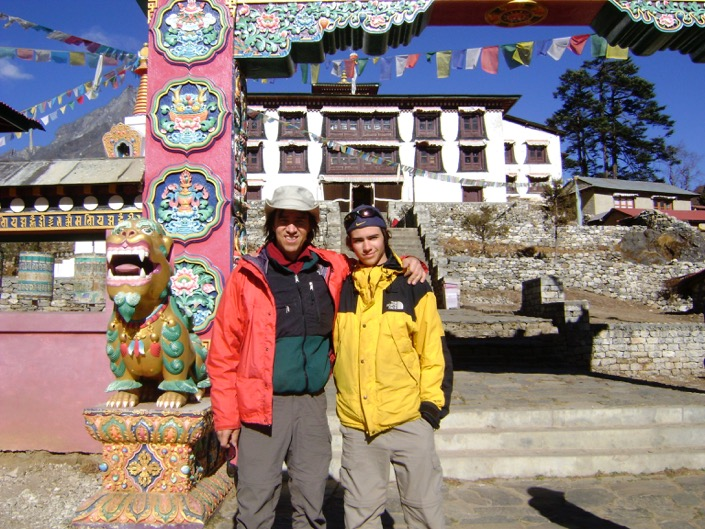 Jim and his son Jeremy at Tengboche Monastery Gate in Nepal