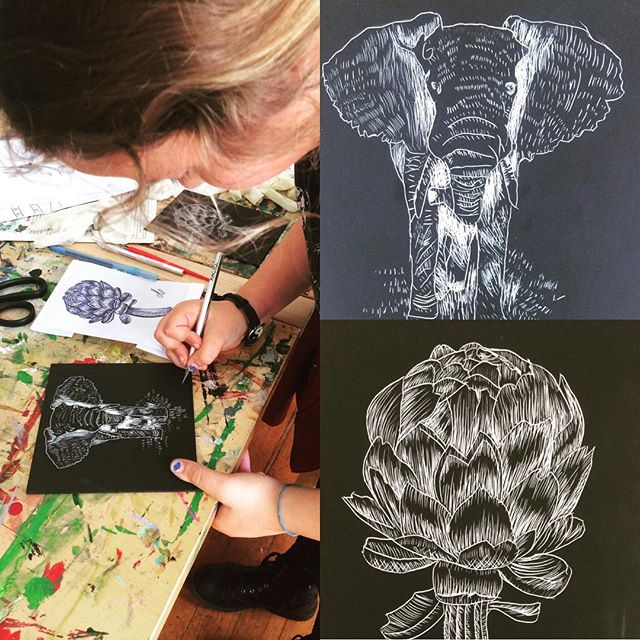 more amazing things you can do with an #exacto knife! #thursdayartworkshops #littlehousegallery #scratchboardart