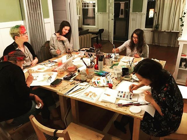 great times last week with the Creative Women of Venice, painting watercolor portraits! #thankssimone #creativewomen #venice #watercolor #portraits #littlehousegallery