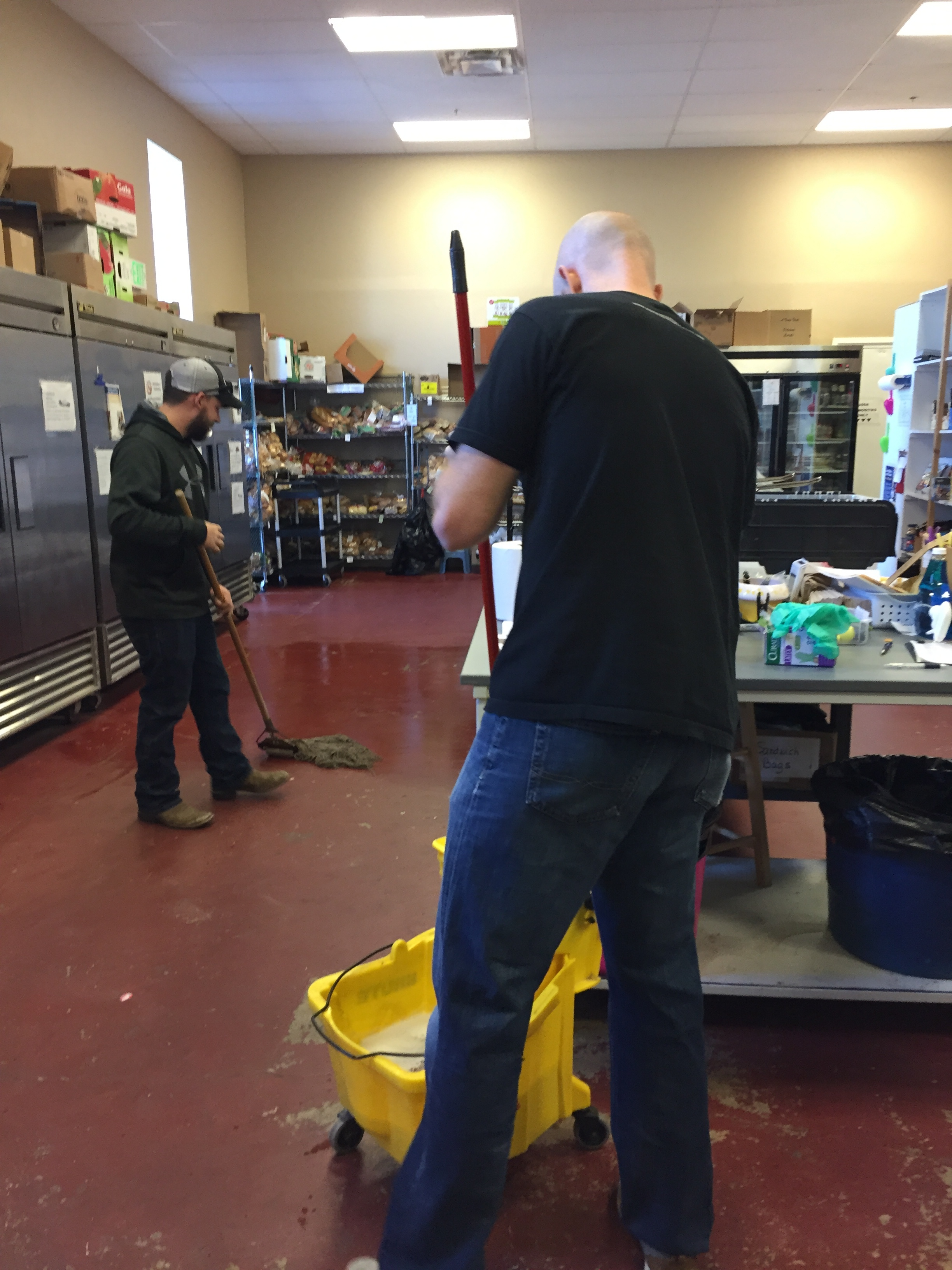 Cleaning The Food Bank - The food bank feeds approximately 80 homeless people per month