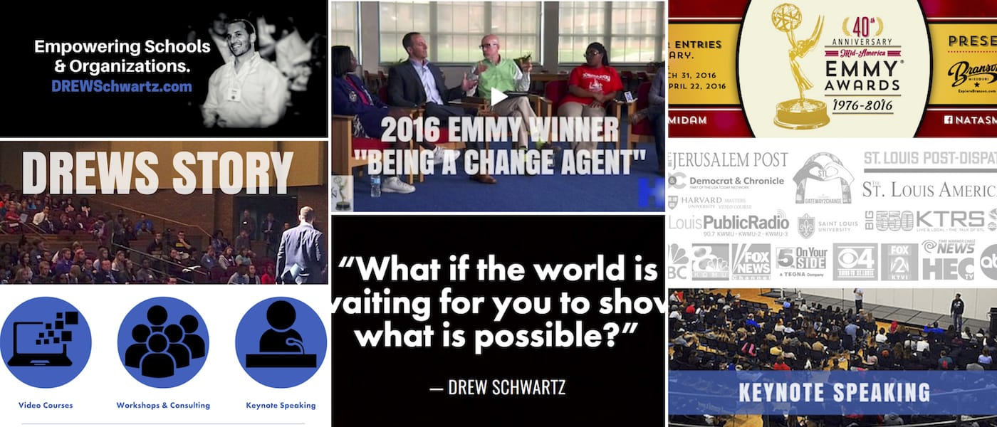 DrewSchwartz.com was a full brand re-design, completed twice for Drew Schwartz, International Speaker and Conflict Resolution Specialist, by Brandon Mushlin Creative,
