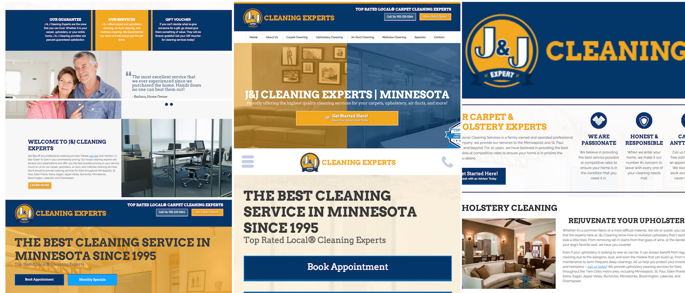 J&J Carpet Cleaning is a top rated Residential and Commercial Carpet Cleaning company that after 22 years was looking for a Site Rebrand as well as SEO positioning help, social presence, and ad spend marketing.