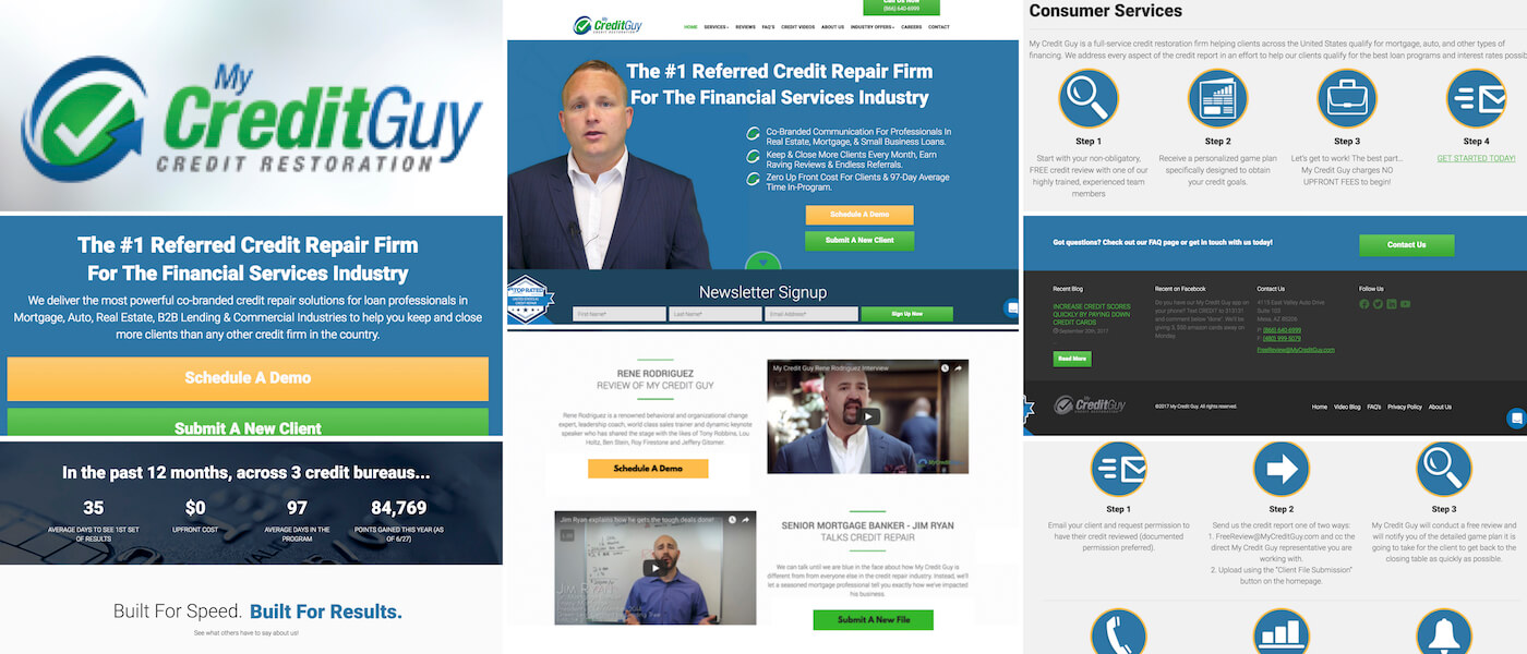MyCreditGuy.com is a top rated and top referred credit repair firm designed for loan professionals and real estate agents looking to keep their clients whom have less than perfect credit. Full site redesign and continuing strategy work with Brandon Mushlin Creative.