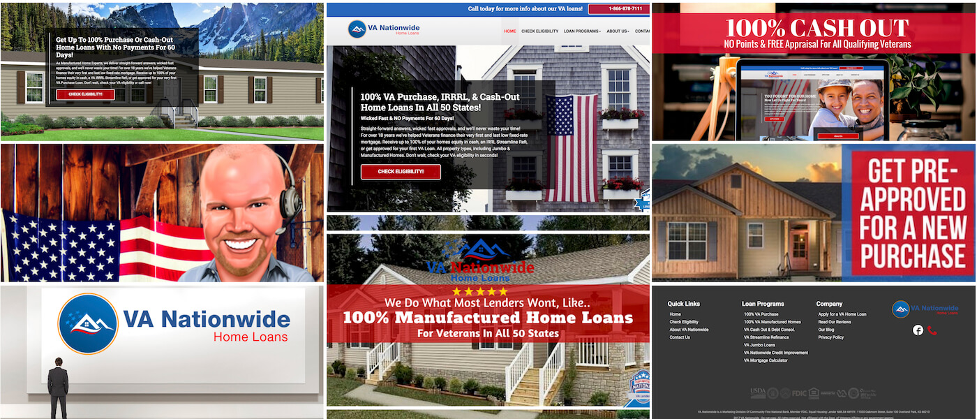Brandon Mushlin Creative works as Creative Strategist for the Nationwide Group Home Loans Brand, VANationwide.com is their first creation under this brand.