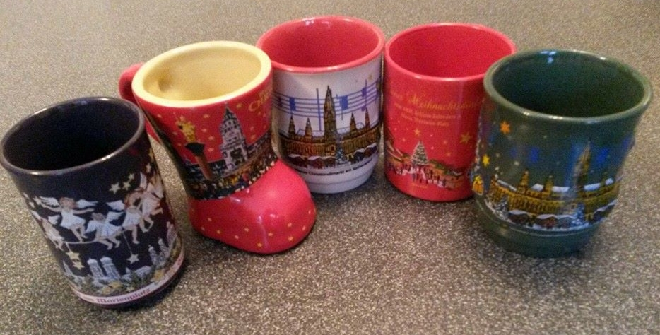 A few mugs we've collected over the years from Christmas markets