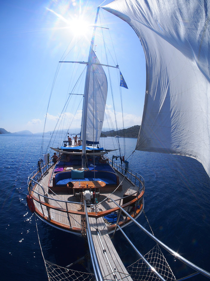 Sail Turkey - Enjoy a long weekend sailing the turquoise coast of Turkey! Sail Turkey with us on our traditional gulet where you will awake in idyllic bays and cruise to a beautiful new destination each day - with a sun deck to relax on and jump off!