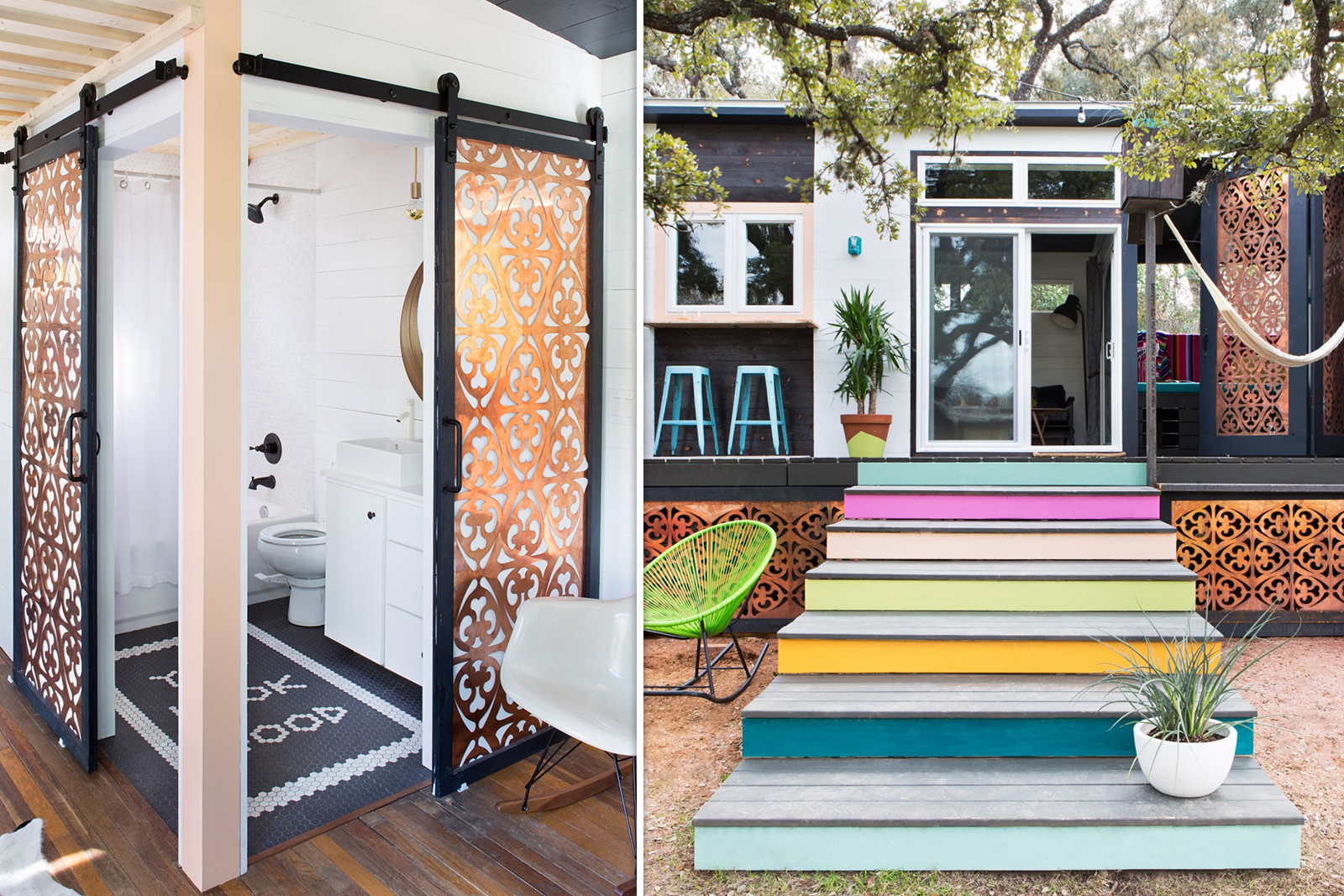 """Parasoleil partnered with Kim Lewis to provide panels for her """"Mid-Century Marfa"""" Tiny Home, designed for FYI's """"Tiny Homes Nation"""". Parasoleil copper panels were used in this 380 square-foot home to screen in the porch, the bathroom, and as part of the front door."""