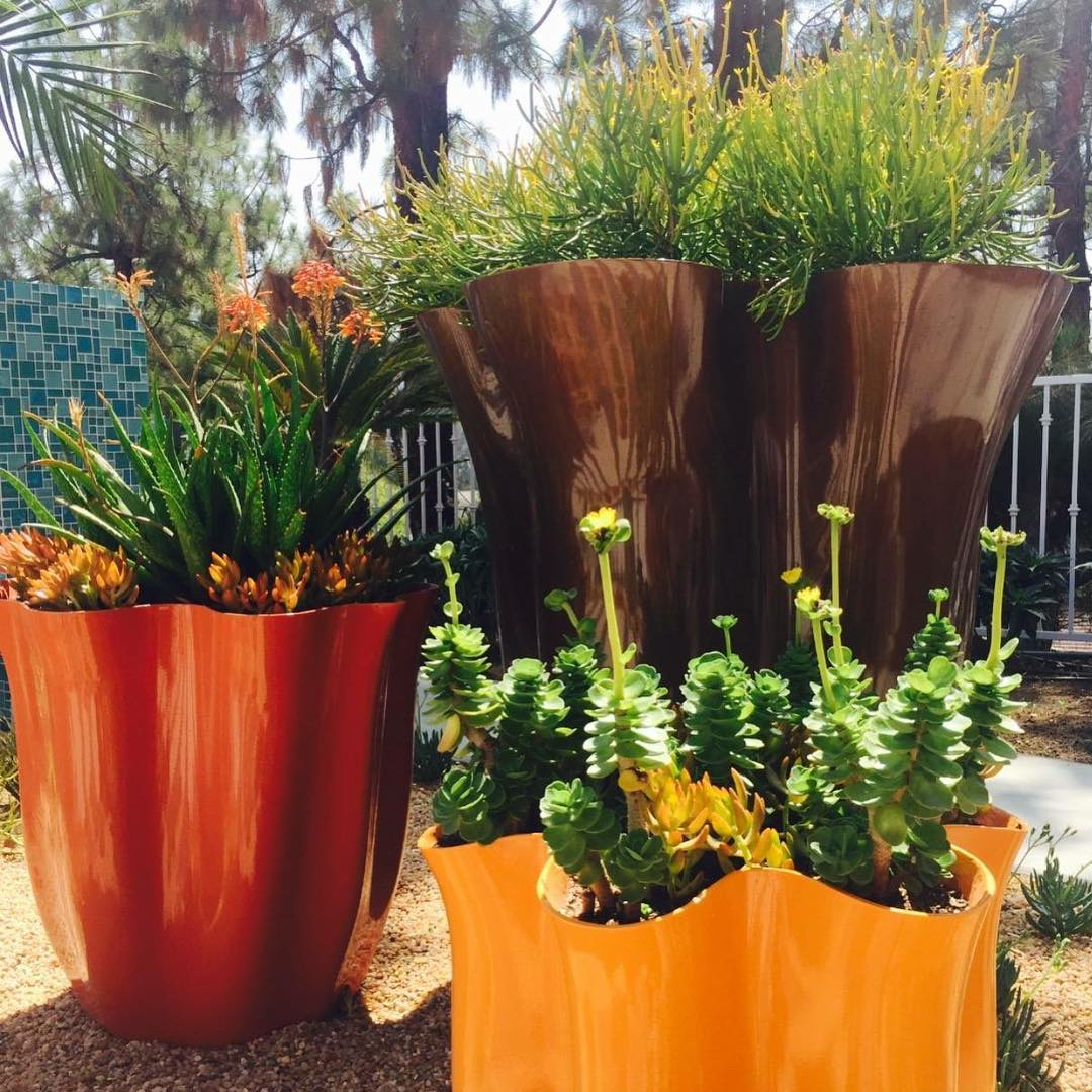 Old Town Fiberglass planters are lightweight, colorful, and eco-friendly.