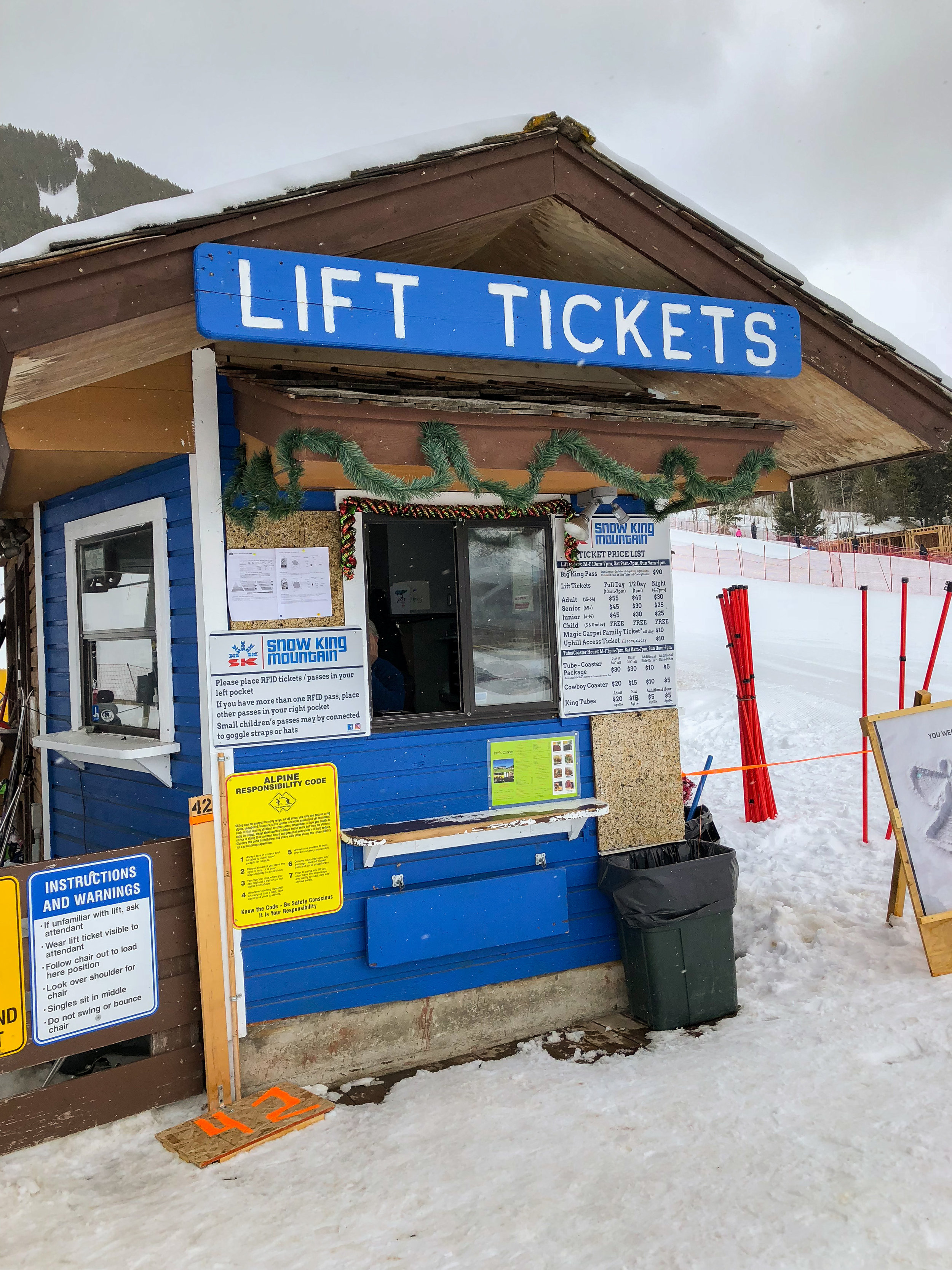 The ticket booth at Snow King Mountain