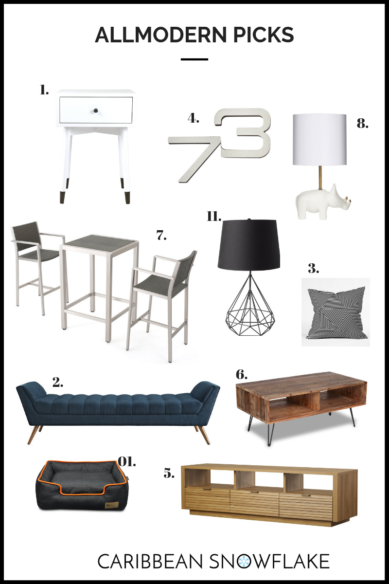 ALLMODERN TOP FINDS: - 1.Bedside Table: $1152. Chaise: $3503. Cushion: $304. House Numbers: $255. TV console: $3506. Coffee Table: $1907. Patio hightop and chairs: $4508. Rhino lamp: $6510. Dog Bed: $8511. Table Lamp: $160
