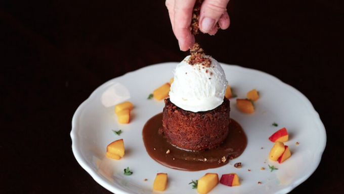 Spanish Sticky Date Cake with Spiced Pecans & Vanilla Ice Cream (Photo by Ryan Tanaka)