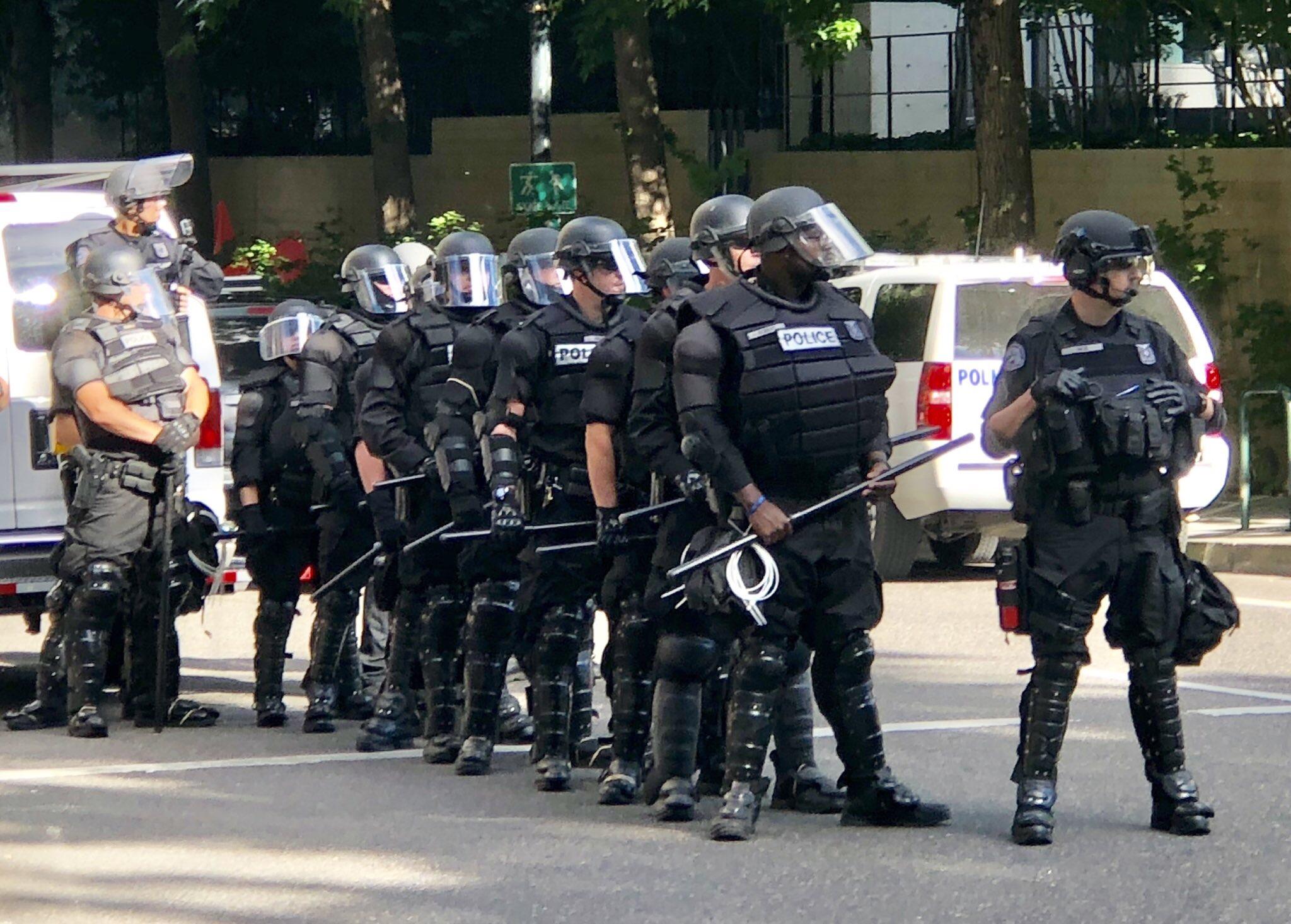 The Portland Police Bureau in riot gear on June 30, 2018 — photo Jeff Thomas Black