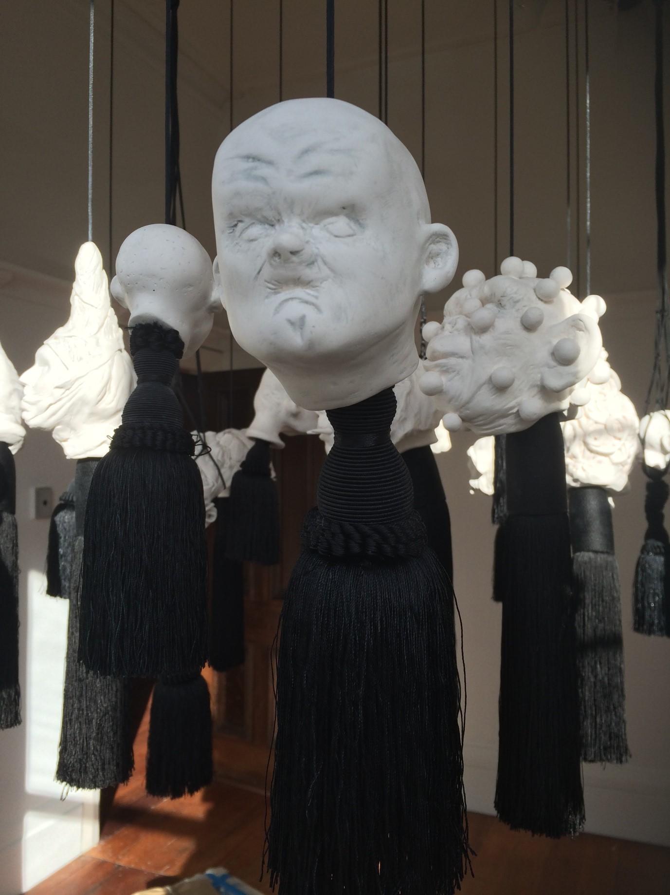 'Hanging Garden of Detachment' Porcelain, graphite powder 2015