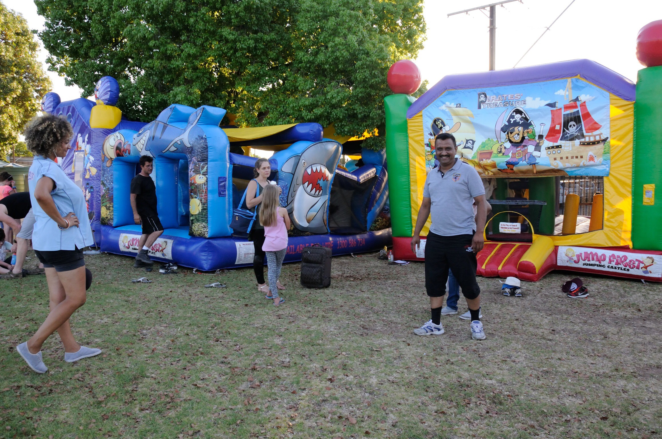 The 3 bouncy castles were put to great use, enjoyed by young and old