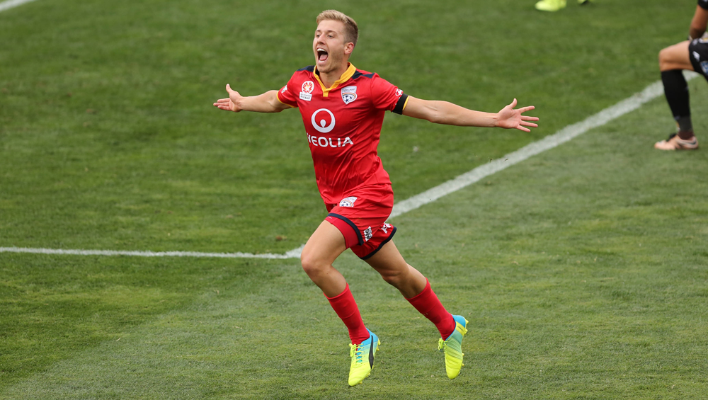 Stefan celebrating one of his several goals he scored for AUFC in his short time with the team.