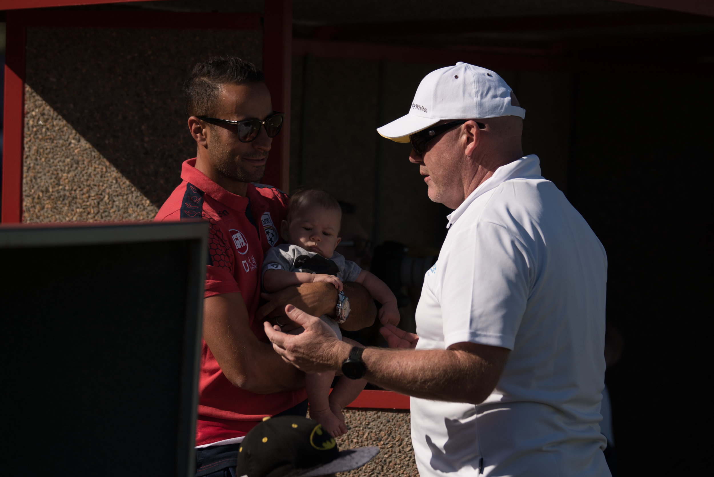Great to see Jars displaying his multi tasking skills, while not only captaining the white team, but taking it upon himself to coach superstar Adelaide United player and king of the kids, Tarek Elrich, how AUFC can win the Asian Champions League. As the true gentleman he is, Tarek took all advice on board.
