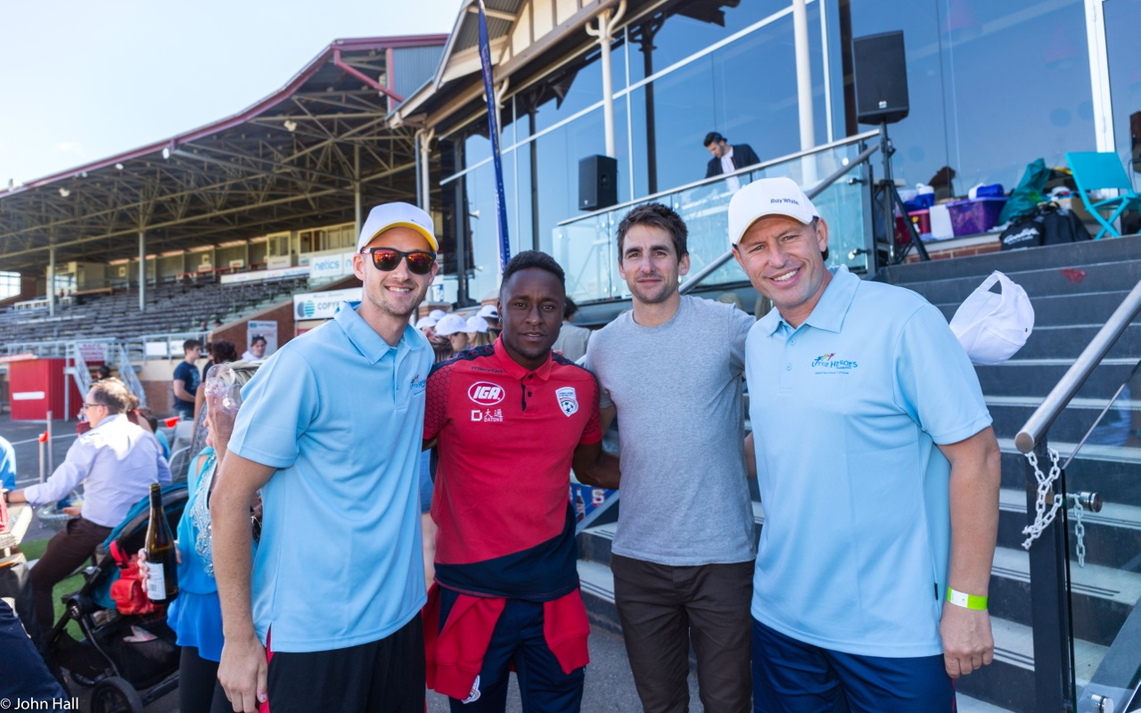 Nova's Jarrod Walsh enjoying being on the other side of the microphone and some quality time with his mates from Adelaide United FC, Mark Ochieng, Nathan Kosmina and the very classy hitter and most probably unofficial Man of the Match, Huss Skandervic.