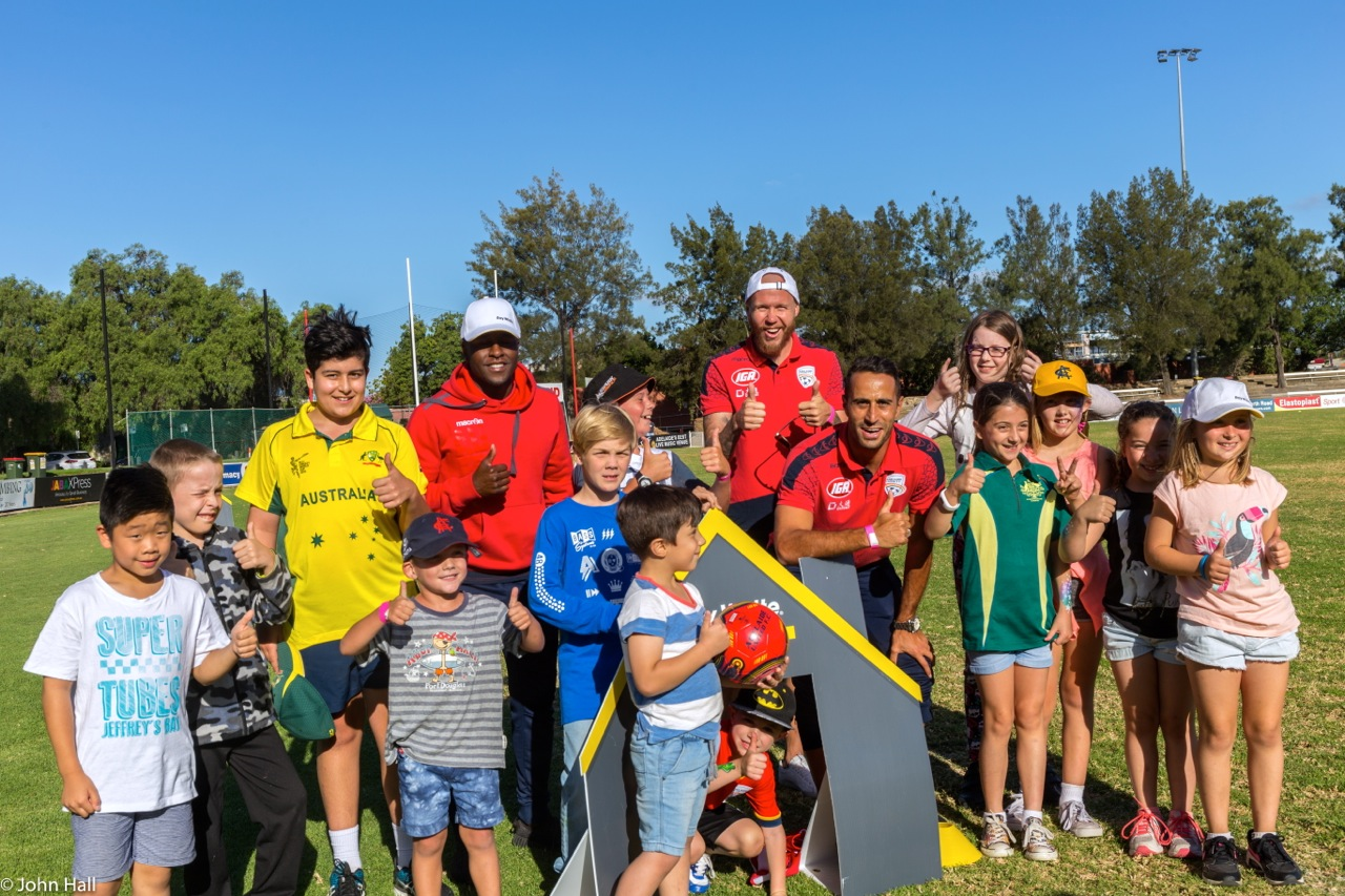 The Adelaide United FC guys getting amongst the kids for a little scratch match of footy (round ball type). King of the kids - Tarek Elrich, Mr Cool - Mark Ochieng and the biggest surf grom of them all - Taylor Regan. Cheers guys for taking time on your day off to help out, truly grateful legends.