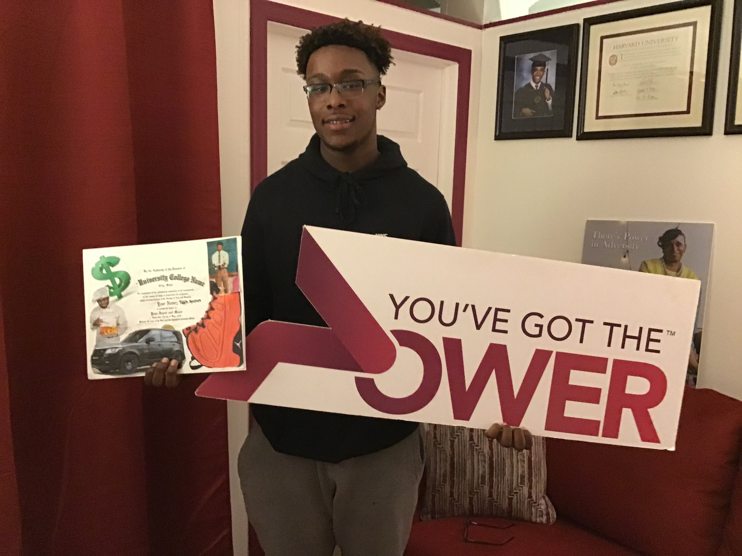 - Teen Empowerment Workshop Attendee - Completed his Vision Board