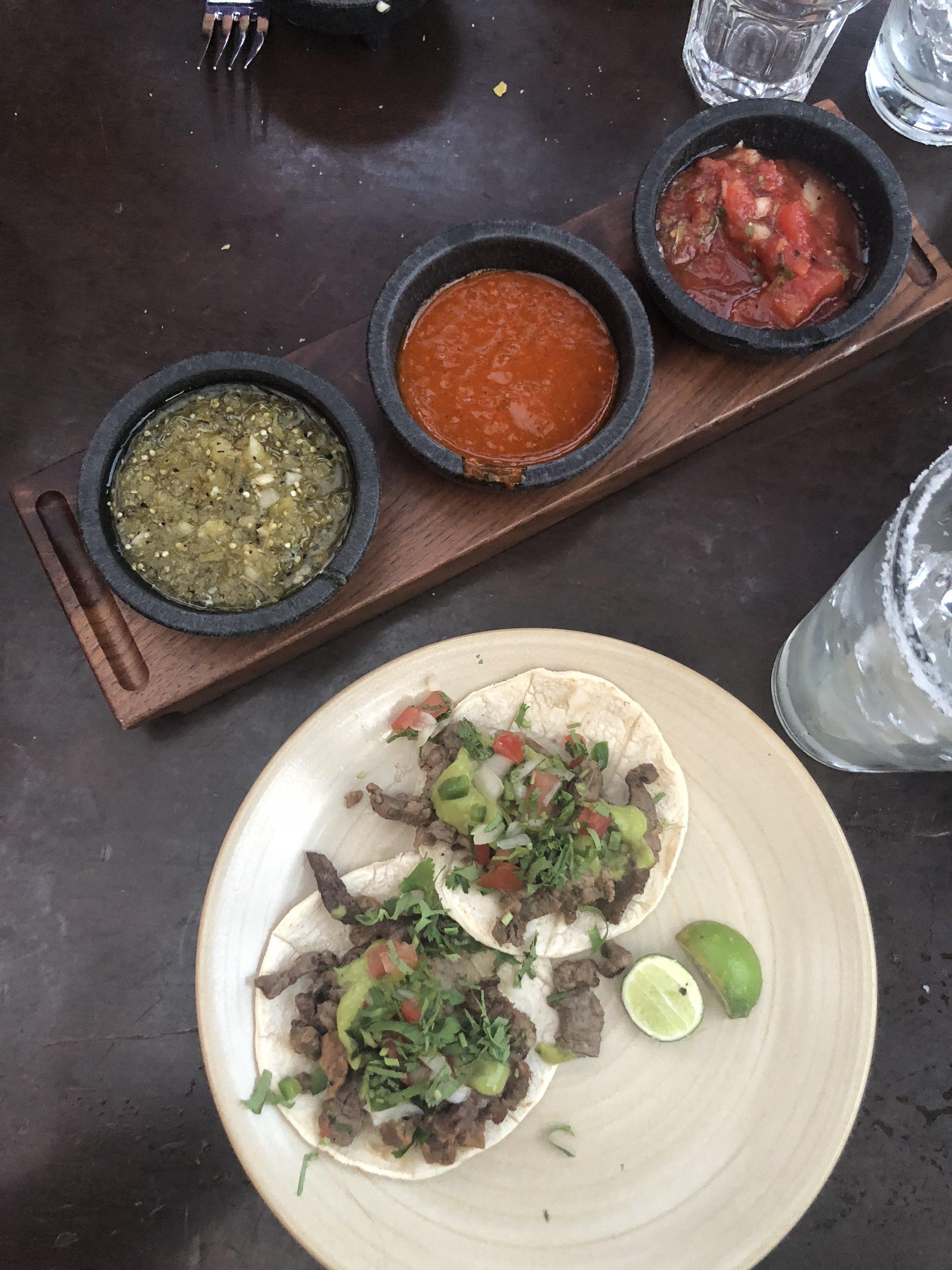 Amazing salsas and tacos