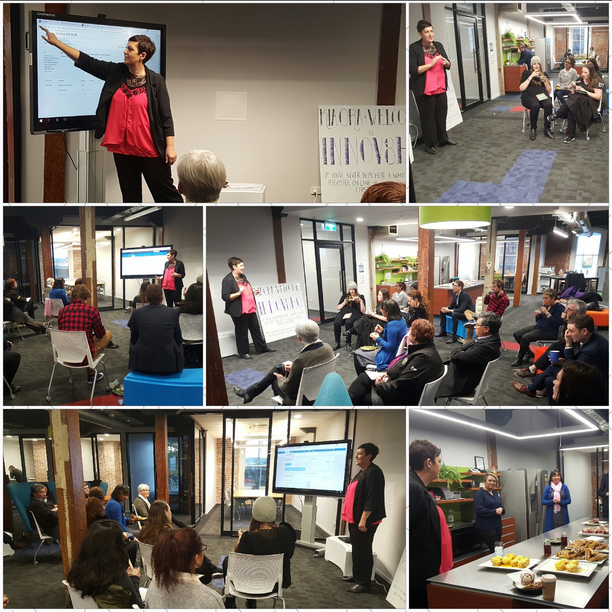 - Donna and Jamie (Polson Higgs) presenting xero on the large screen at Innov8HQ.  Seasoned users of xero commented they had picked up new tips, and learned about new features.