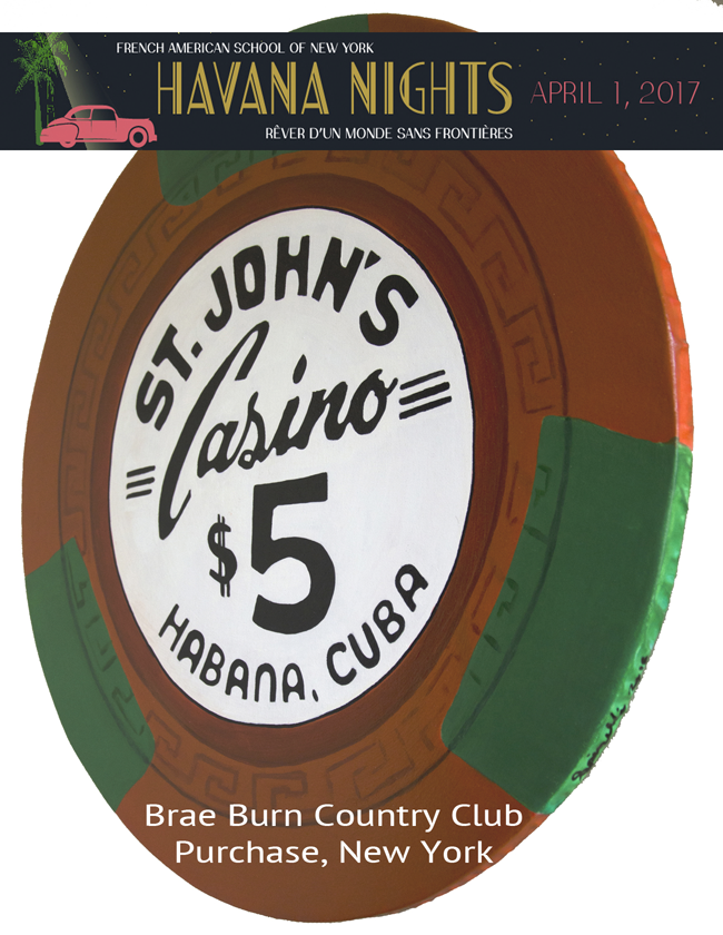 There will be a gala for the French American School of New York tonight at the Brae Burn Country Club in Westchester County and I have donated this casino chip from my Art series for their silent auction. The gala is themed Havana Nights so I thought that this chip would be appropriate.