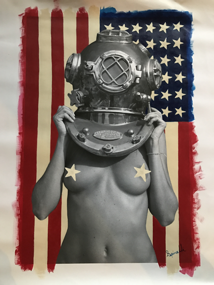 """This is the last  """"  Diver UP      Yankee  """" that I will paint with the blue union field positioned on the right. On  any new pieces, if I paint any at all, the blue union field will be  painted on the left. FYI, since I started painting   Diver UP   with the USA flag, I have been commissioned about 25 different national flags  to be painted with her. Please keep them coming! I love painting these.  This last one above is 16x24 inches and available for purchase. Please PM me.   The last one……"""