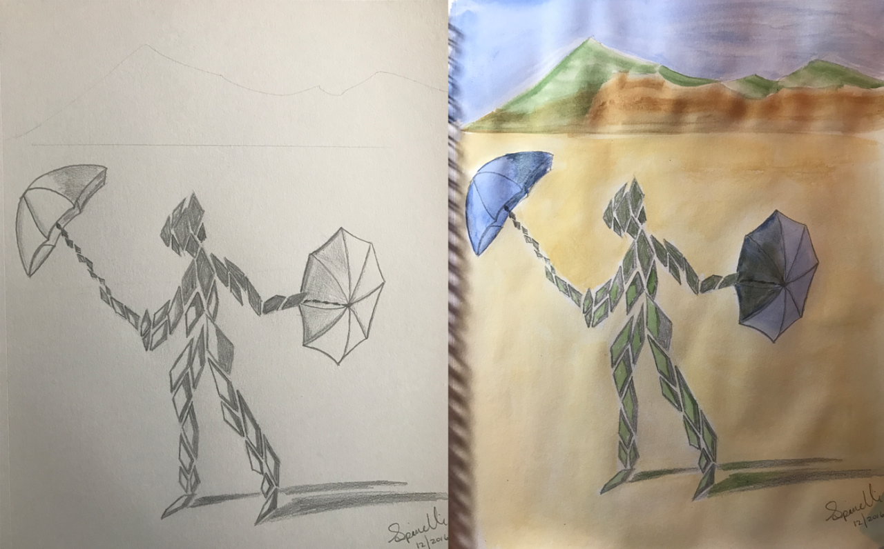My last piece of art of 2016 but a new style of work that my journey has discovered only in the final days of this year. A welcome surprise. :) I deem this one:   Harlequin Sun Dancer  . Pencil & watercolor on 11x14 paper. Happy New Year, everyone and blessings to all. enjoy.